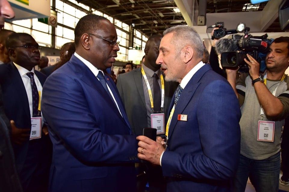 Accueil par Moulay Hafid Elalamy de Son Excellence le Président de la République du Sénégal, M. Macky Sall, au Pavillon marocain au Salon VivaTech